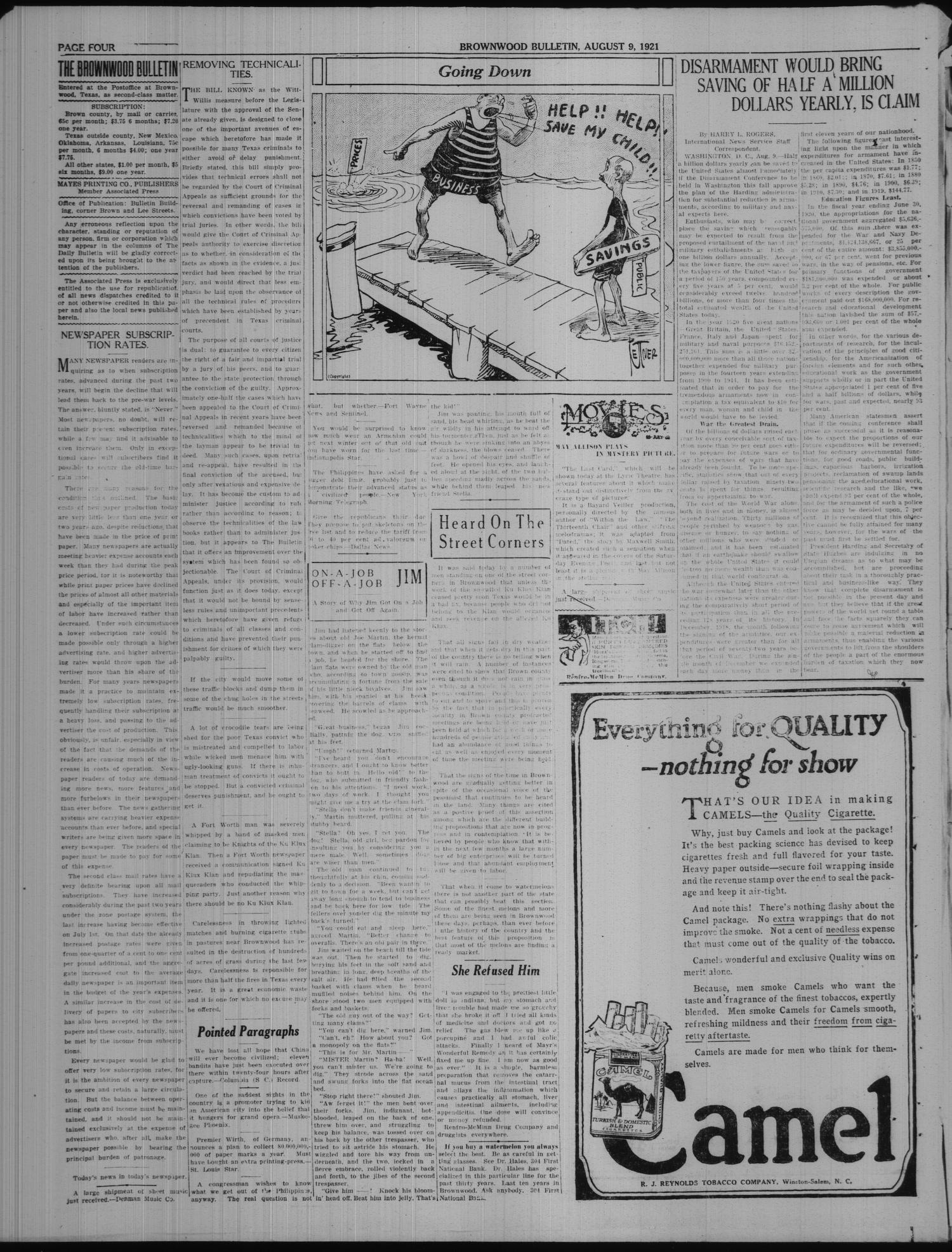 Brownwood Bulletin (Brownwood, Tex.), Vol. 21, No. 251, Ed. 1 Tuesday, August 9, 1921                                                                                                      [Sequence #]: 4 of 6