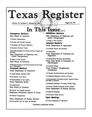 Primary view of object titled 'Texas Register Volume 16, Number 2, Pages 63-143, January 8, 1991'.