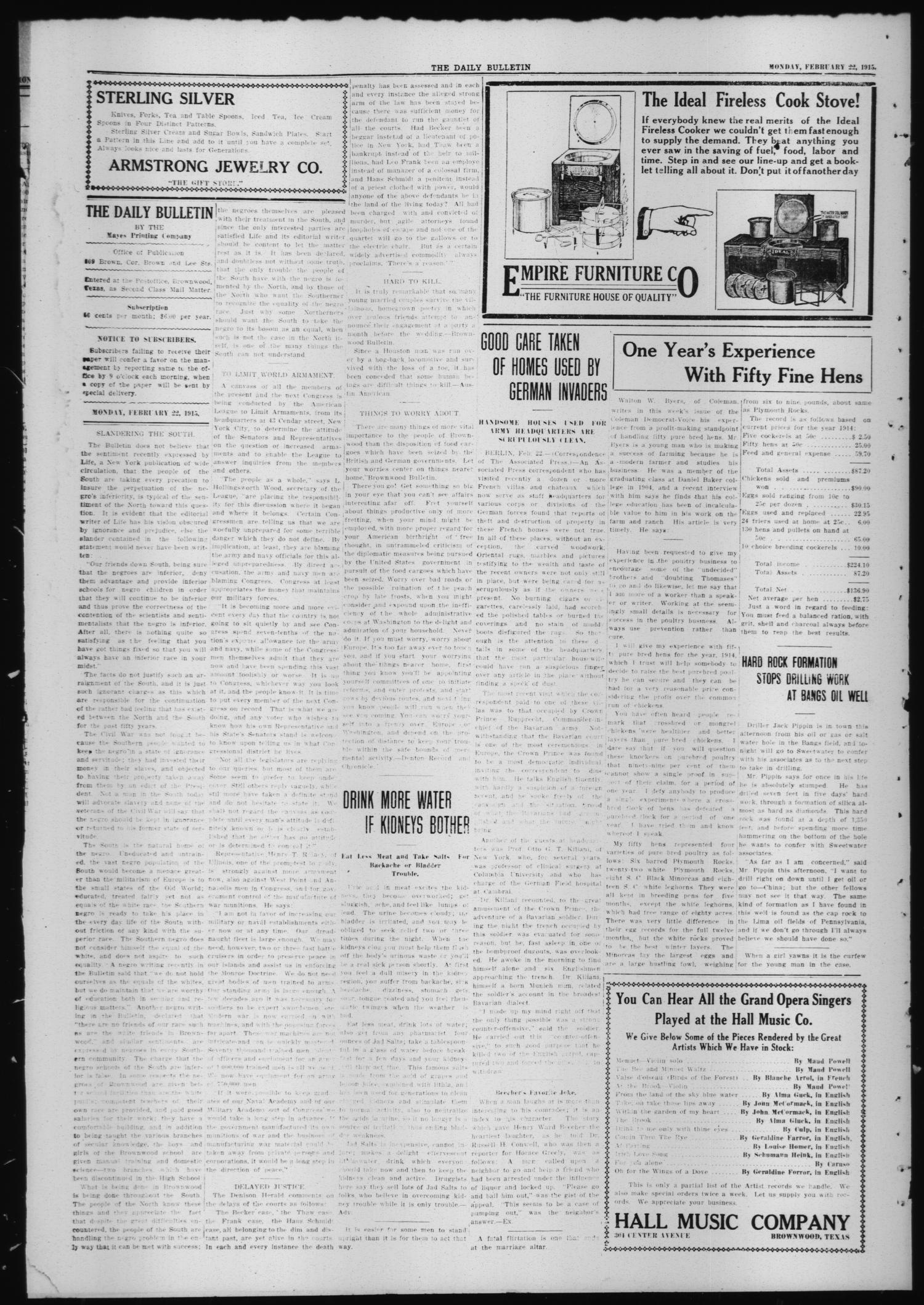 The Daily Bulletin (Brownwood, Tex.), Vol. 14, No. 110, Ed. 1 Monday, February 22, 1915                                                                                                      [Sequence #]: 2 of 4