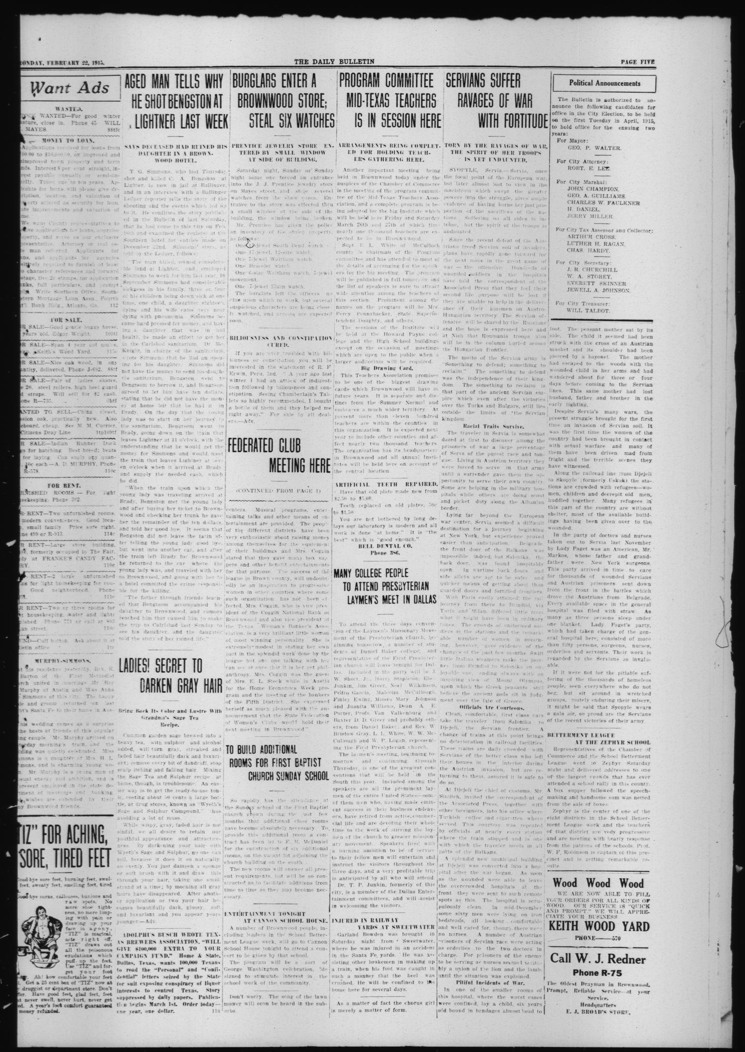 The Daily Bulletin (Brownwood, Tex.), Vol. 14, No. 110, Ed. 1 Monday, February 22, 1915                                                                                                      [Sequence #]: 3 of 4