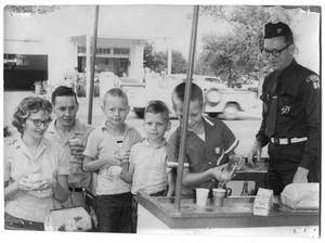 Primary view of object titled '[Boy Scouts with Scout Master, Delbert Wasson]'.