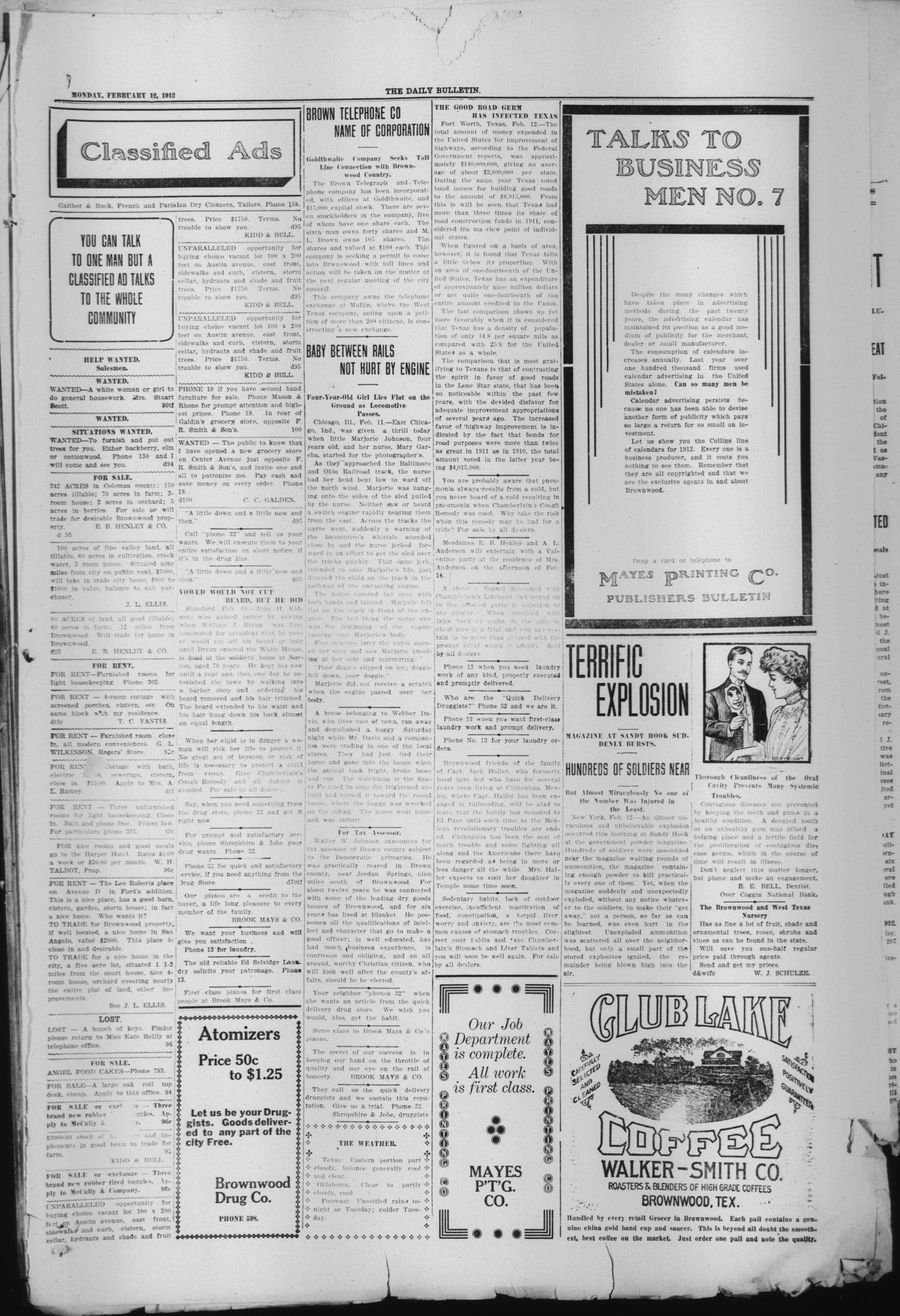 Daily Bulletin. (Brownwood, Tex.), Vol. 12, No. 95, Ed. 1 Monday, February 12, 1912                                                                                                      [Sequence #]: 3 of 4