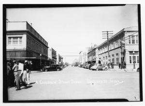 Primary view of object titled 'Looking west on Ave. B, NW from Main-Late 40's'.