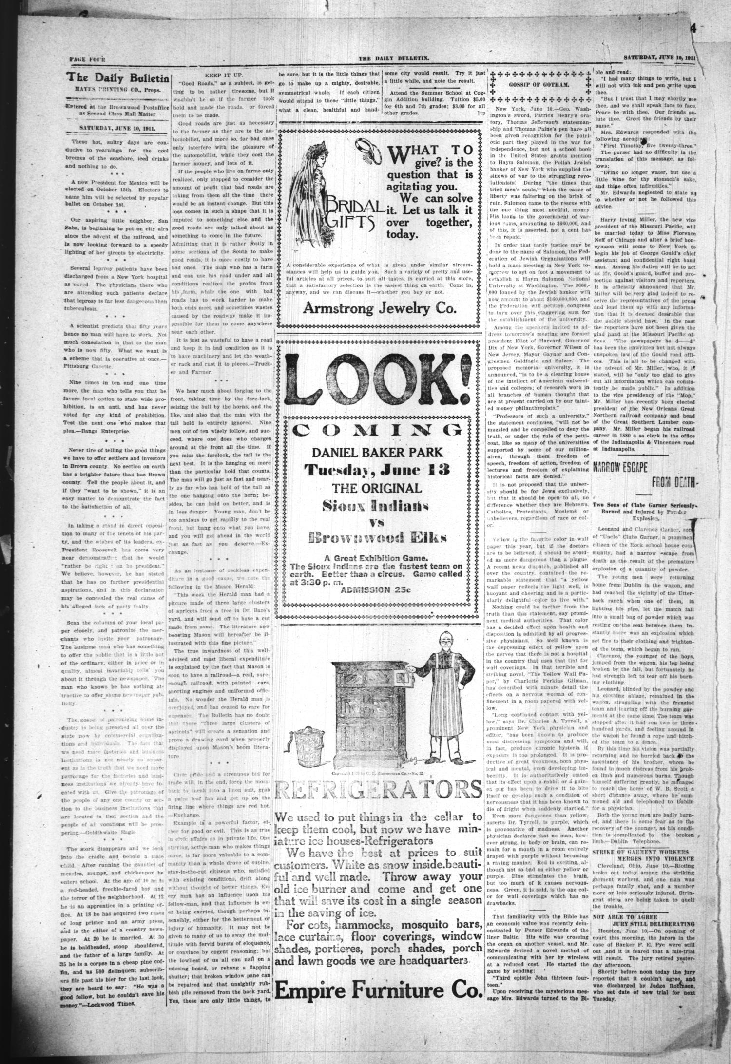 Daily Bulletin Brownwood Tex Vol 11 No 201 Ed 1 Saturday
