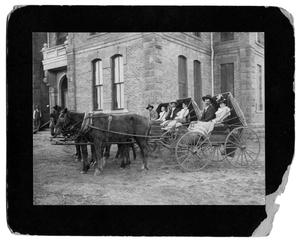 Primary view of object titled '[Photograph of 1898 Newly weds Gulver, Davis & Tippett couples at courthouse]'.