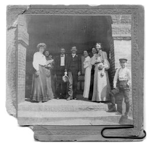Primary view of object titled 'People - group of 9 on porch'.