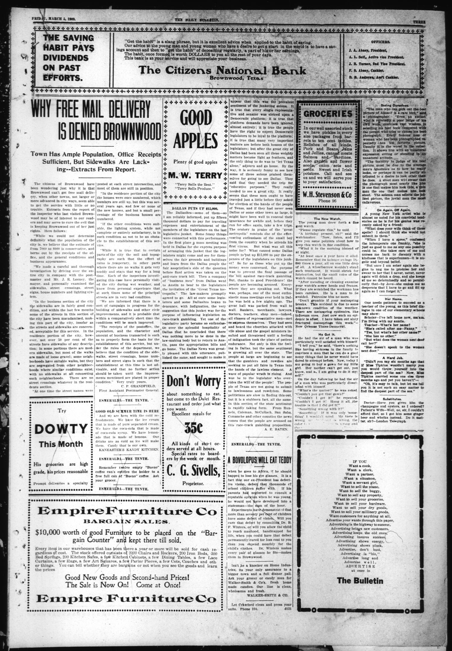 Daily Bulletin. (Brownwood, Tex.), Vol. 9, No. 120, Ed. 1 Friday, March 5, 1909                                                                                                      [Sequence #]: 3 of 8