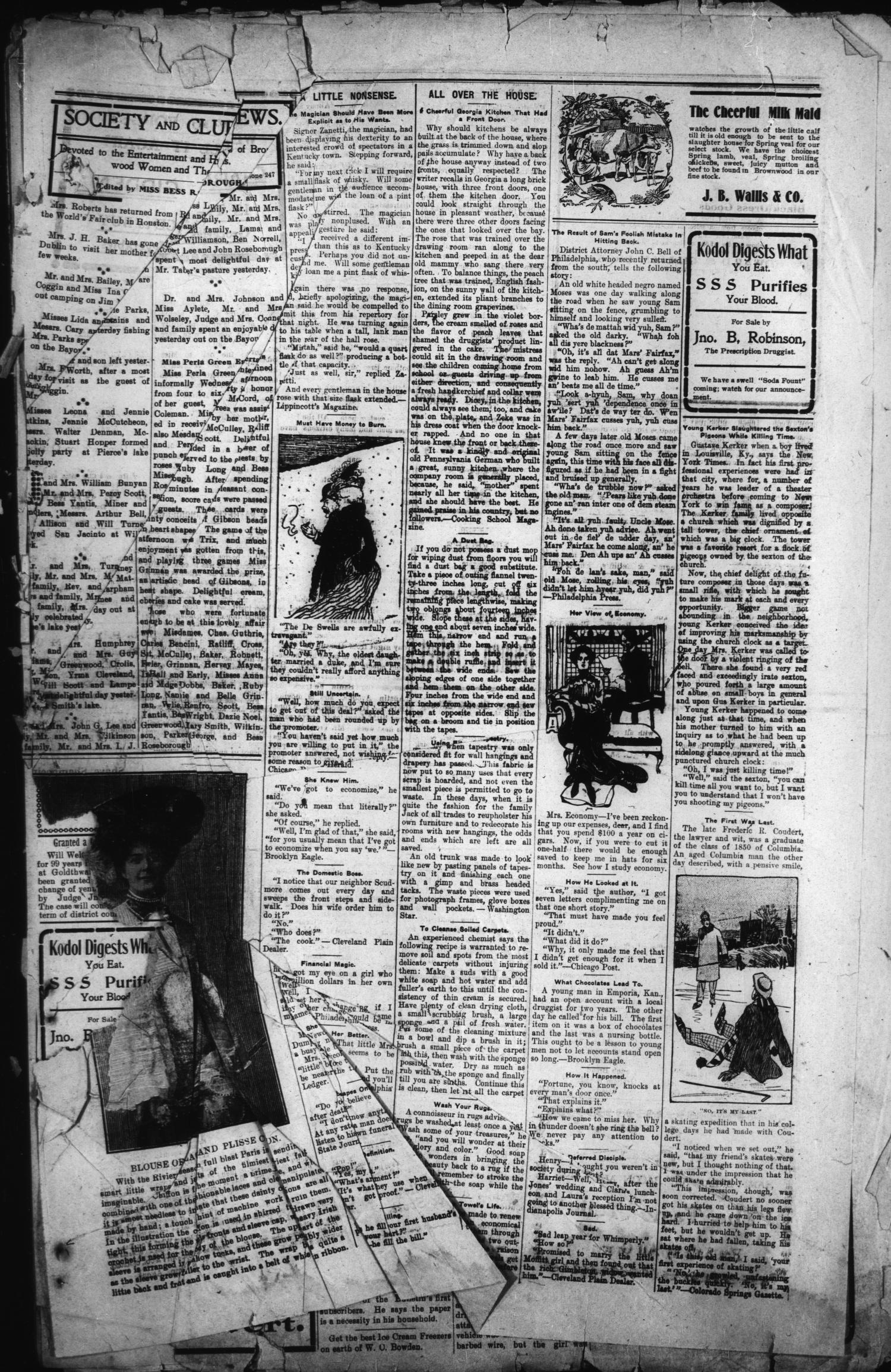 Daily Bulletin Brownwood Tex Vol 4 No 160 Ed 1 Friday Bri Fash Black April 22 1904 Page 3 Of The Portal To Texas History