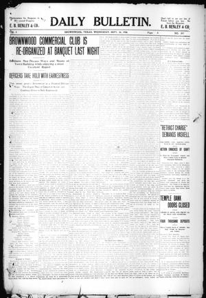 Primary view of object titled 'Daily Bulletin. (Brownwood, Tex.), Vol. 8, No. 297, Ed. 1 Wednesday, September 30, 1908'.