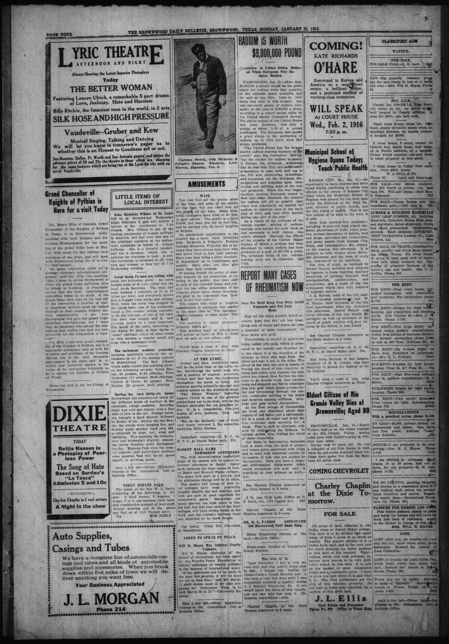 The Daily Bulletin (Brownwood, Tex.), Vol. 15, No. 91, Ed. 1 Monday, January 31, 1916                                                                                                      [Sequence #]: 4 of 4