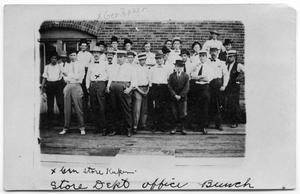 Primary view of object titled '[Childress Railroad Shops Store Department Employees]'.