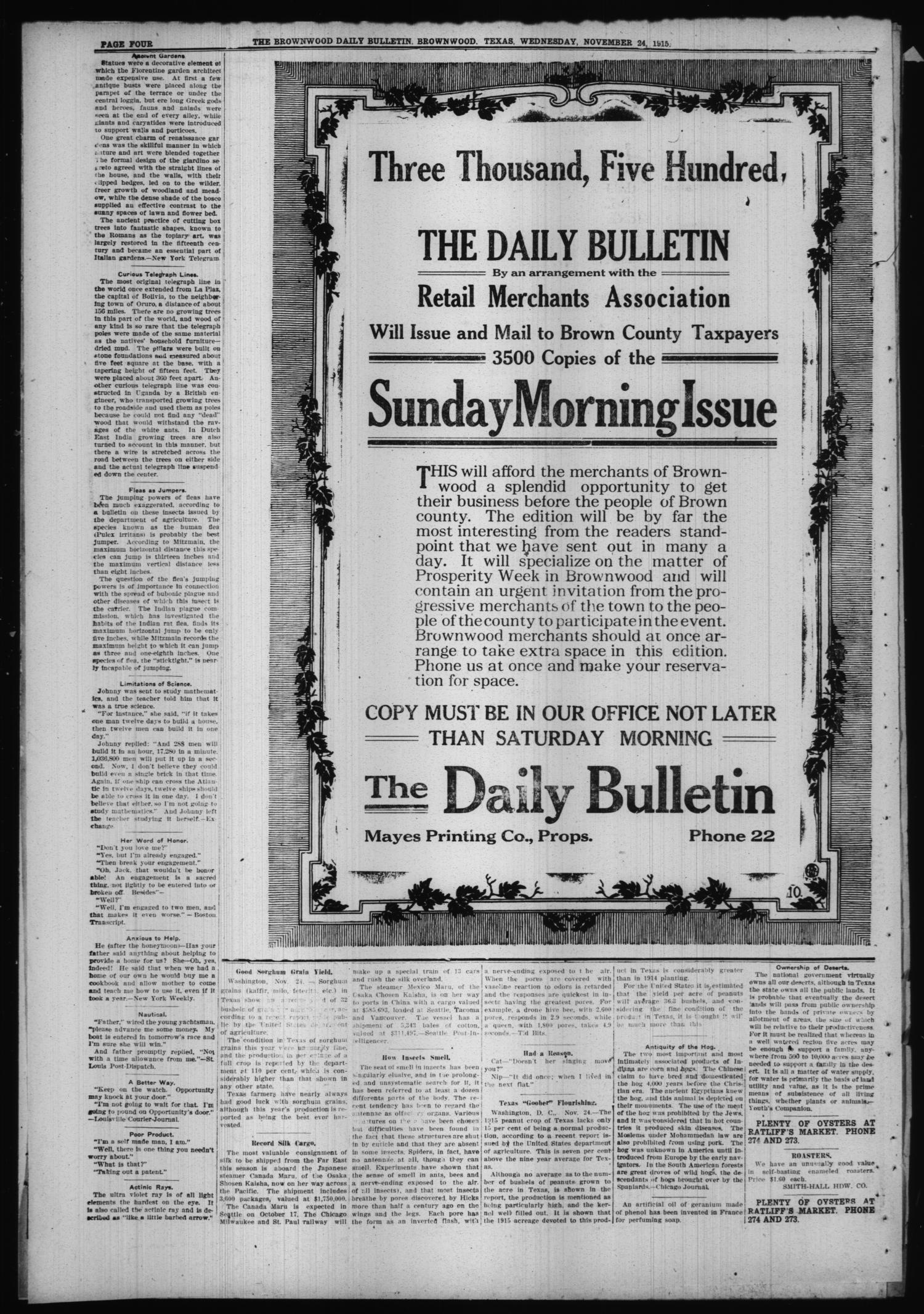 The Daily Bulletin (Brownwood, Tex.), Vol. 15, No. 35, Ed. 1 Wednesday, November 24, 1915                                                                                                      [Sequence #]: 4 of 7