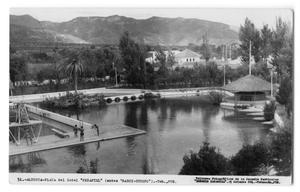 Primary view of object titled '[Postcard of Hotel Peñafiel's large pool]'.