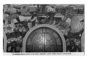 Primary view of object titled 'Postcard of a mural above an entryway'.