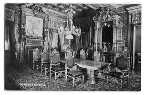 Primary view of object titled 'Postcard of a formal dining room'.