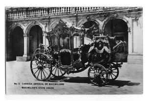 Primary view of object titled 'Postcard of Maximilian's state coach'.