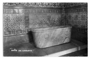 Primary view of object titled 'Postcard of Carlota Amalia's bathtub'.
