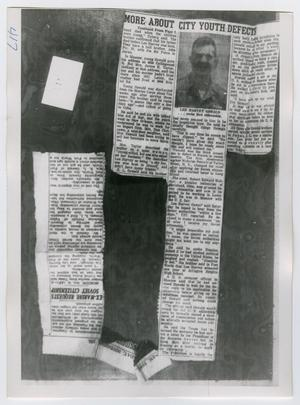 Primary view of object titled '[Photographs of Newspaper Clippings]'.