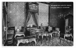Primary view of object titled 'Postcard of Carlota Amalia's bedroom'.