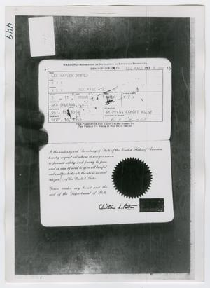 Primary view of object titled '[Lee Harvey Oswald's Passport, Photograph #3]'.