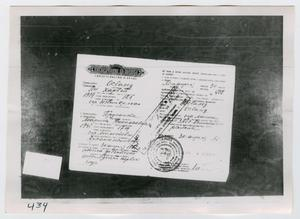 Primary view of object titled '[Photograph of Official Document]'.