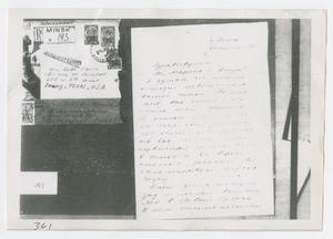 Primary view of object titled '[Oswald's Mail, Photograph #1]'.