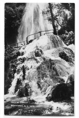 "Postcard of a waterfall called ""Cola de Caballo"""