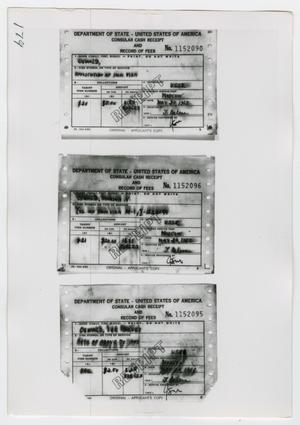 Primary view of object titled '[Photographs of Cash Receipts]'.