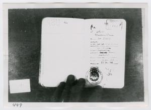 Primary view of object titled '[Lee Harvey Oswald's Passport, Photograph #5]'.