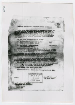 Primary view of object titled '[Loan Information, Photograph #1]'.