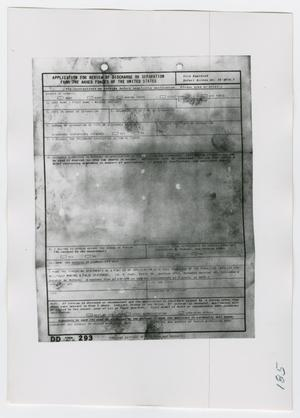 Primary view of object titled '[Application for Review of Discharge, Photograph #1]'.