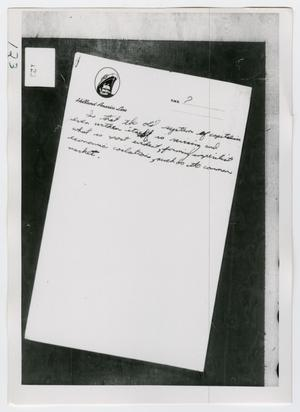 Primary view of object titled '[Oswald's Stationary, Photograph #5]'.