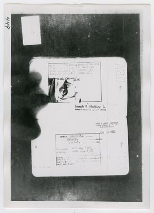 Primary view of object titled '[Lee Harvey Oswald's Passport, Photograph #4]'.