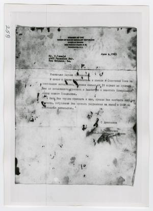 Primary view of object titled '[Photograph of Letter to Marina Oswald]'.