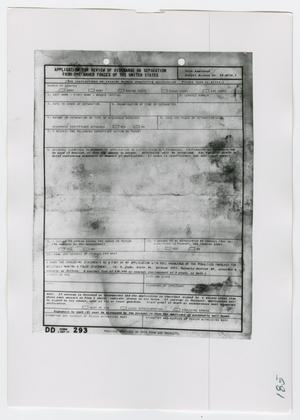 Primary view of object titled '[Application for Review of Discharge, Photograph #3]'.