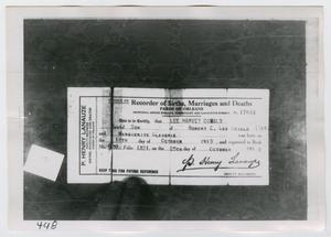 Primary view of object titled '[Photograph of Birth Certificate]'.