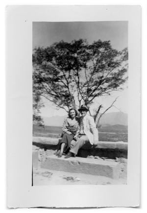 Primary view of object titled 'Vivian Osio and unknown man sitting on a stone wall'.