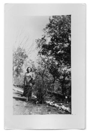 Primary view of object titled '[Photograph of unidentified woman in the wilderness]'.