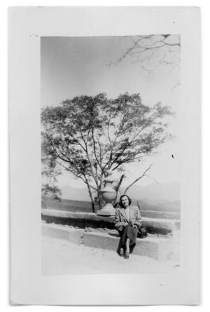 Primary view of object titled 'Photograph of Woman on Stone Wall'.