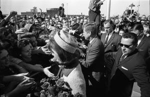 Primary view of object titled '[President and Mrs. Kennedy at Love Field]'.