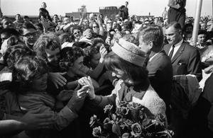 Primary view of object titled '[The Kennedys greeting the crowd at Love Field]'.