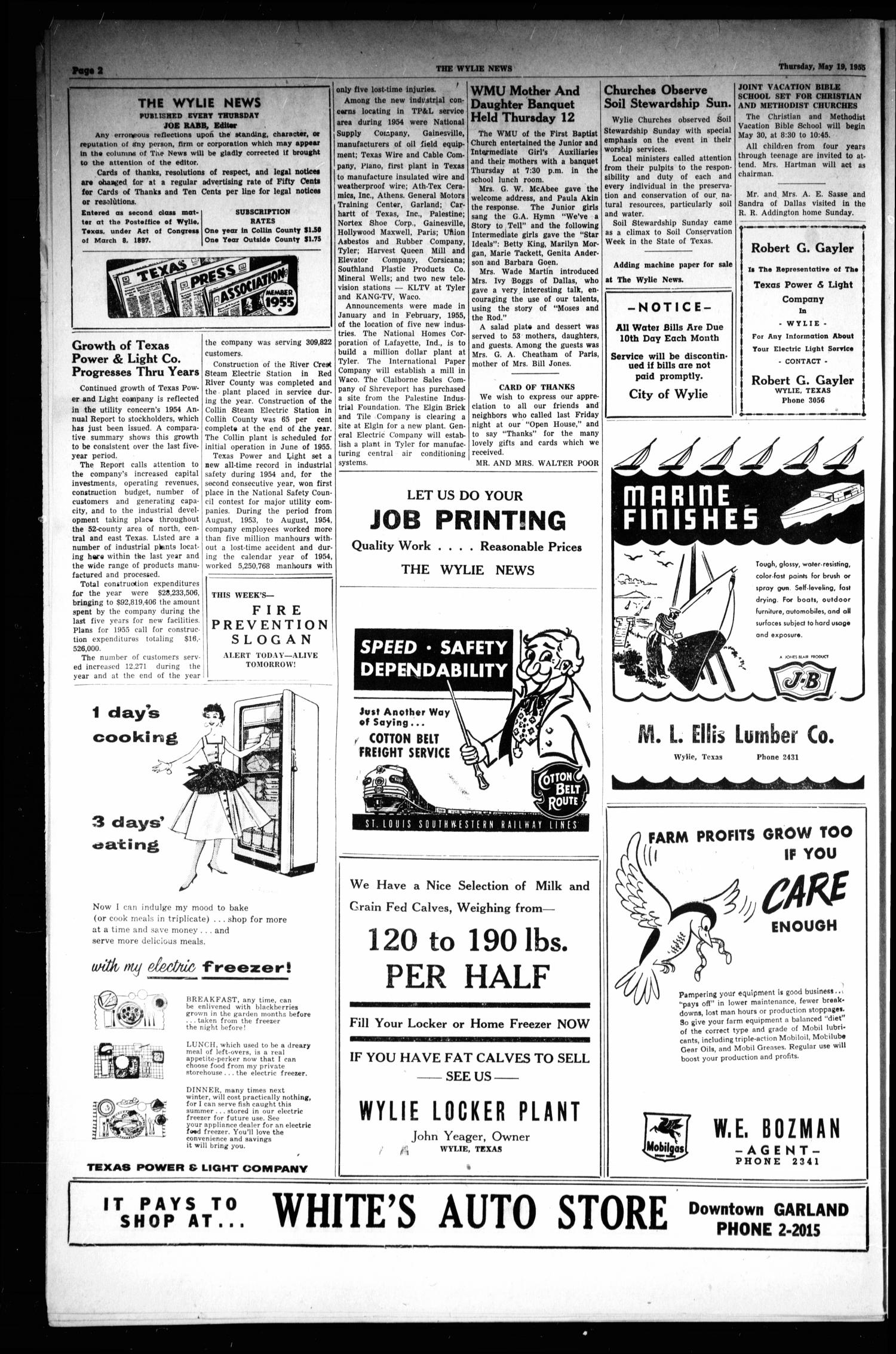 The Wylie News (Wylie, Tex.), Vol. 8, No. 5, Ed. 1 Thursday, May 19, 1955                                                                                                      [Sequence #]: 2 of 6