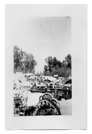Primary view of object titled 'Large gathering of river boats'.
