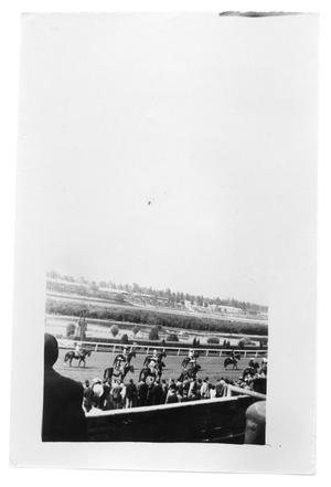 Primary view of object titled 'Men on their horses ride across the track in a stadium'.
