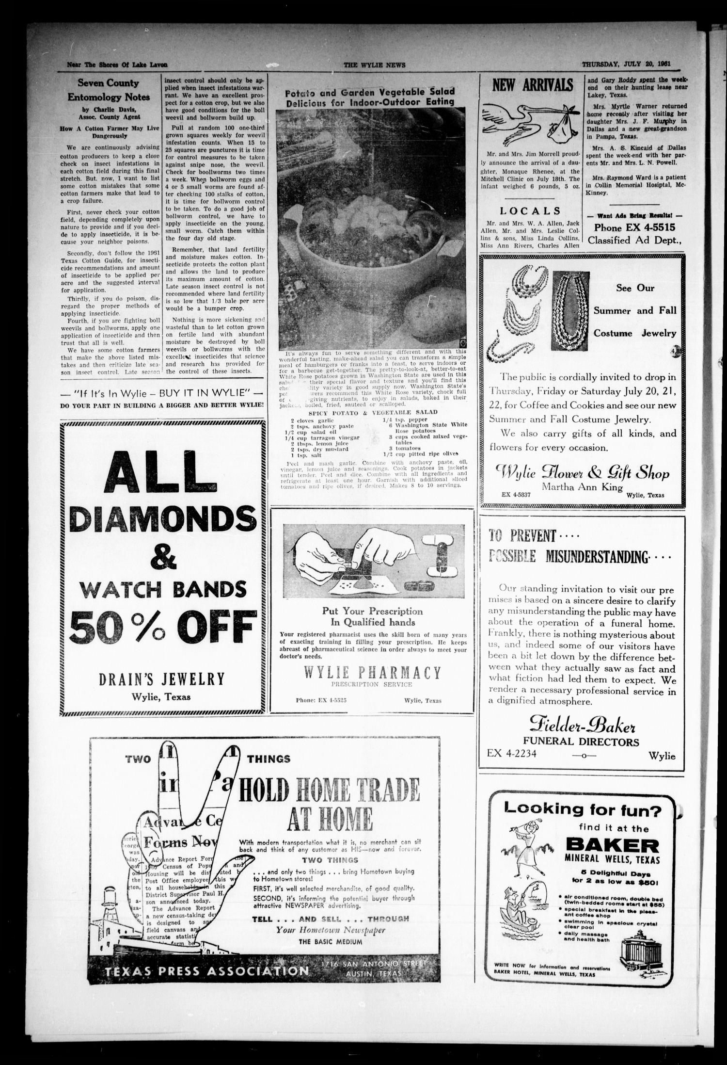The Wylie News (Wylie, Tex.), Vol. 14, No. 12, Ed. 1 Thursday, July 20, 1961                                                                                                      [Sequence #]: 4 of 6