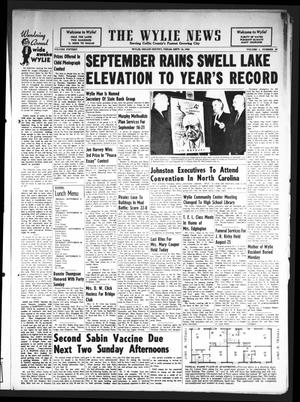 Primary view of object titled 'The Wylie News (Wylie, Tex.), Vol. 15, No. 19, Ed. 1 Thursday, September 13, 1962'.
