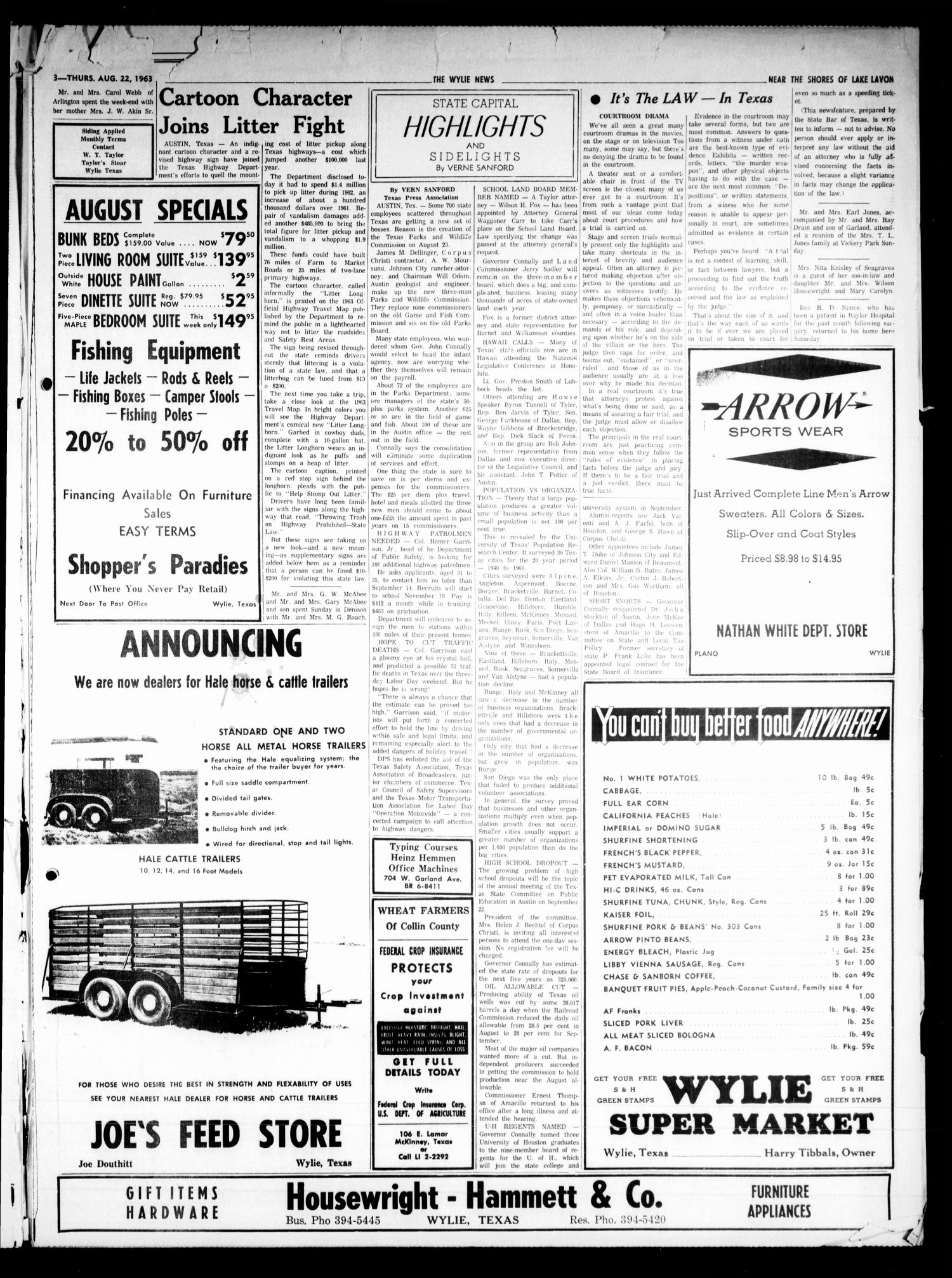 The Wylie News (Wylie, Tex.), Vol. 16, No. 15, Ed. 1 Thursday, August 22, 1963                                                                                                      [Sequence #]: 3 of 6