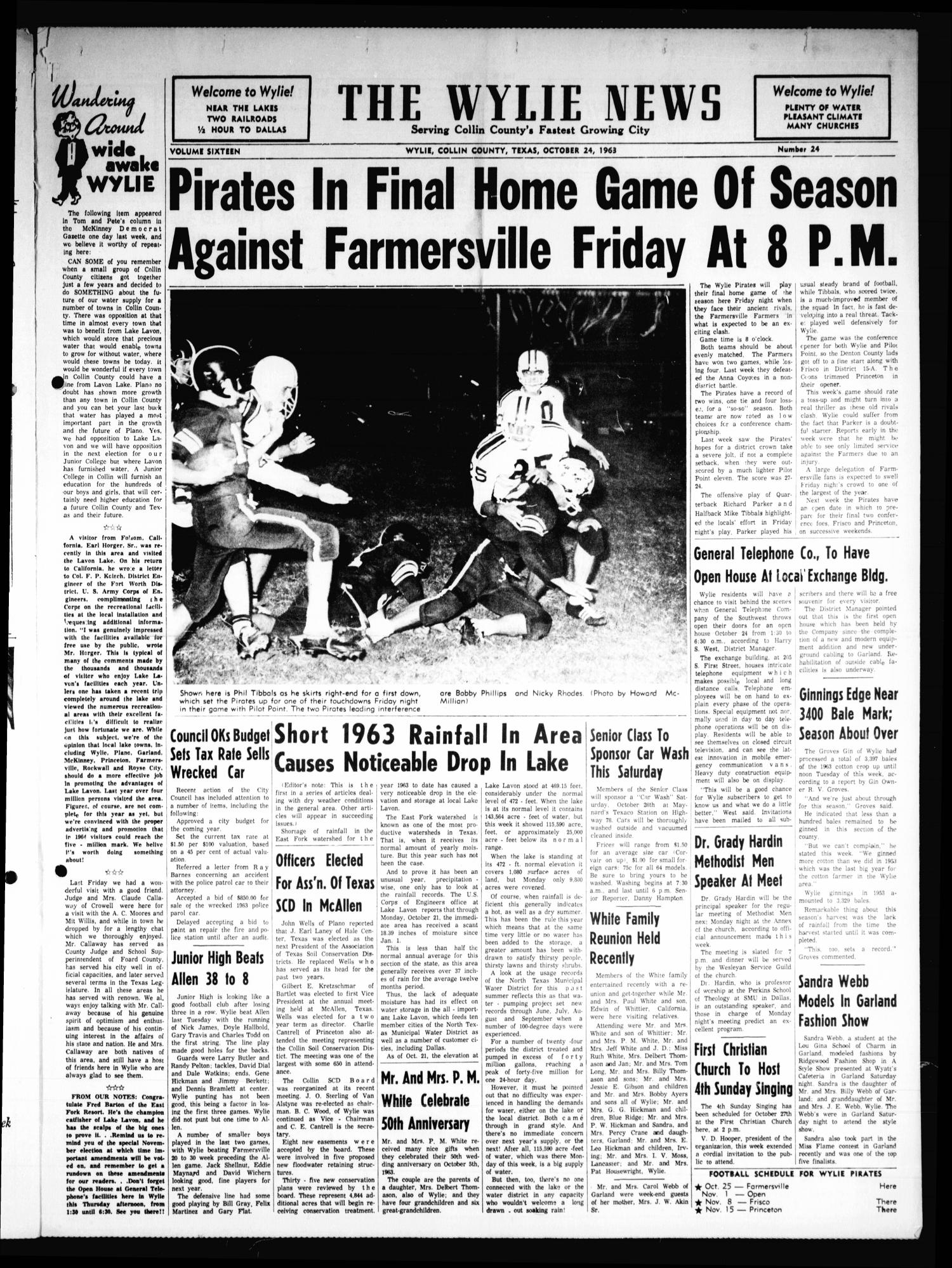 The Wylie News (Wylie, Tex.), Vol. 16, No. 24, Ed. 1 Thursday, October 24, 1963                                                                                                      [Sequence #]: 1 of 6