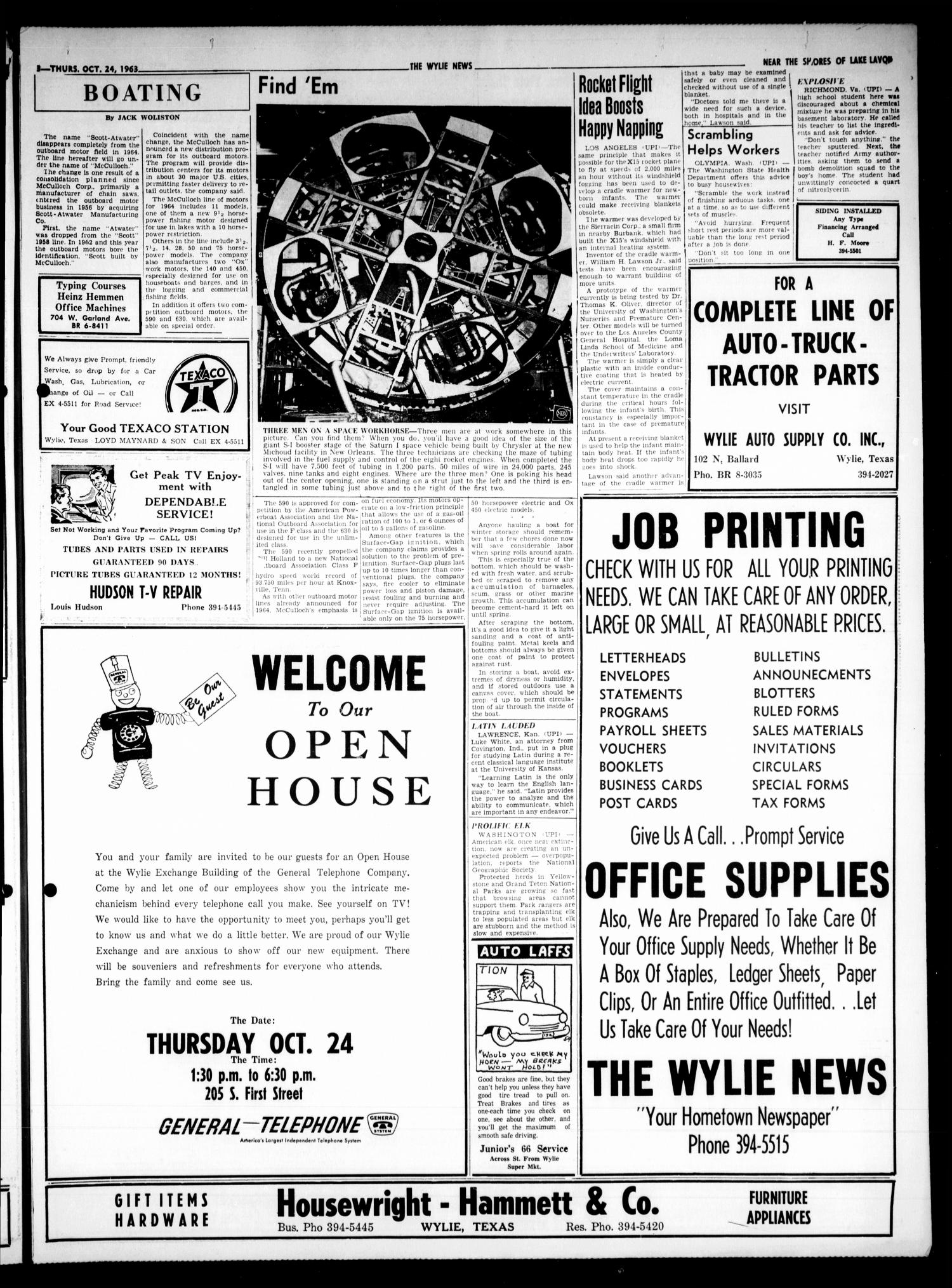 The Wylie News (Wylie, Tex.), Vol. 16, No. 24, Ed. 1 Thursday, October 24, 1963                                                                                                      [Sequence #]: 3 of 6