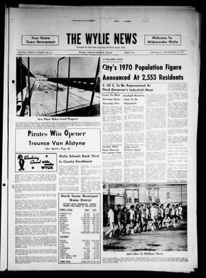 Primary view of object titled 'The Wylie News (Wylie, Tex.), Vol. 23, No. 14, Ed. 1 Thursday, September 17, 1970'.